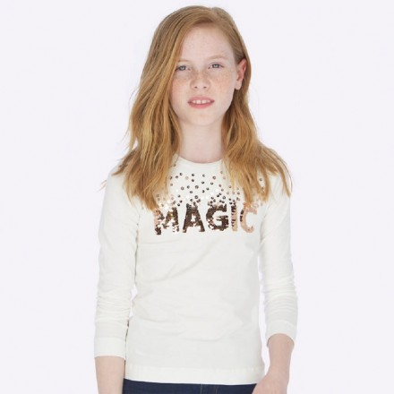 Camiseta manga larga magic lentejuela de Mayoral para niña modelo 7011