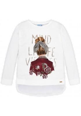 Camiseta manga larga combinada gasa de Mayoral para niña modelo 4010