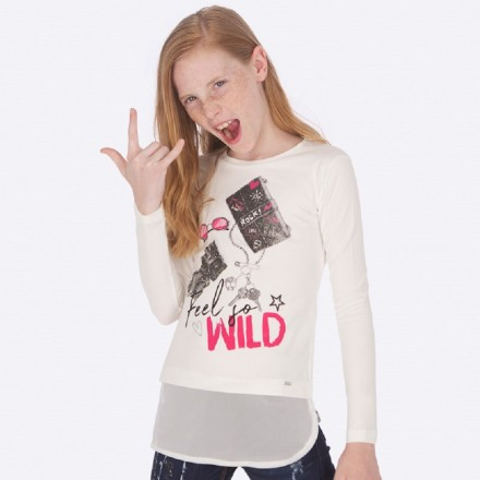 Camiseta manga larga complementos de Mayoral para niña modelo 7018