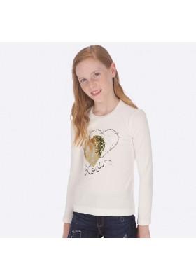 Camiseta manga larga corazones de Mayoral para niña modelo 7010
