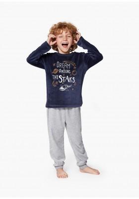 pijama de tundosado con print LOSAN de niño modelo 925-P001AA