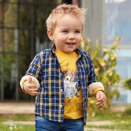 Sobrecamisa cuadros forrada de Mayoral para bebe niño modelo 2110