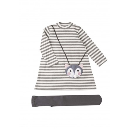conjunto de vestido y media basica LOSAN de niña modelo 926-8036AA