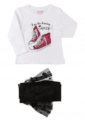 conjunto de camiseta y legging con falda LOSAN de niña modelo 926-8018AA