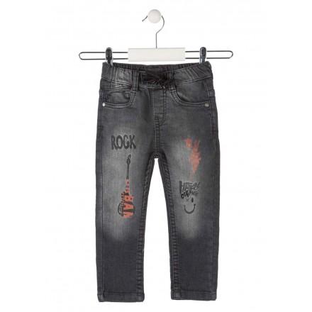 pantalon denim con prints LOSAN de niño modelo 925-6031AA