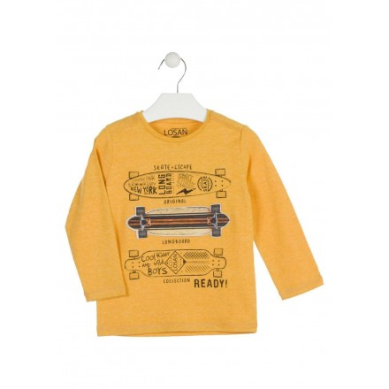 camista de manga larga con print LOSAN de niño modelo 925-1006AA