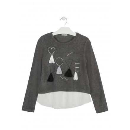 camiseta de interlock y voile LOSAN de niña modelo 924-1007AA