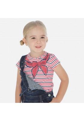 Camiseta manga corta rayas pañuelo de MAYORAL para niña modelo 3005