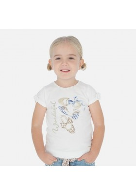 Camiseta manga corta manga lazo de MAYORAL para niña modelo 3010
