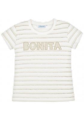 Camiseta manga corta rayas glitter de MAYORAL para niña modelo 3011