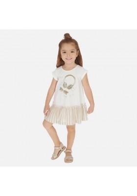 Vestido volante lino rayas de MAYORAL para niña modelo 3948